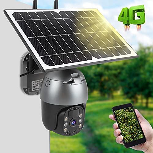 Ong Cámara 4G, cámara 4G 1080P PTZ IP66 Pan Tilt a Prueba de Humedad para comunidades para Patios para estanques de Peces(Americas Band)
