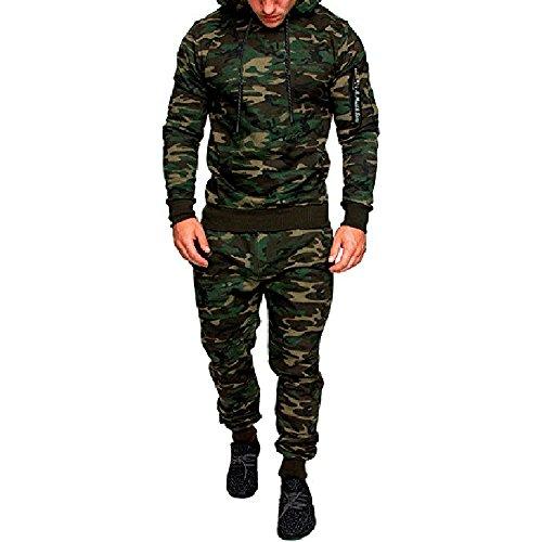 Rera Herren Camouflage Sportanzug Zip Kapuzenpullover Sweatshirt und Sporthose Jogginganzug Freizeitanzug 2 Stücke (M, Camouflage Grün 1)