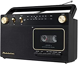 Studebaker Portable Retro Home Audio Stereo AM/FM Radio & Cassette Player/Recorder with Aux Input Jack & Built in Speakers (Gold)