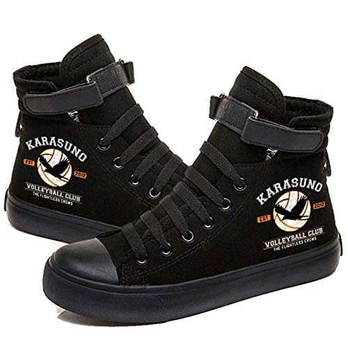 Haikyuu Chaussures High School Karasuno Jersey Numéros Imprimé Chaussures Cosplay Unisexe Adulte High Top Canvas Sneakers - Noir - Karasuno., 40 EU