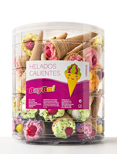 Helados Calientes con Anisitos y Bola de Anís La Asturiana - Golosina en forma de helado, con crujiente barquillo, con anisitos, con alegres colores, elaboración 100% artesana, botes de 40 unidades