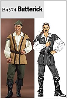 Butterick B4574 Men's Medieval Outlaw Renaissance Fair Costume Sewing Pattern, Sizes XL-XXXL