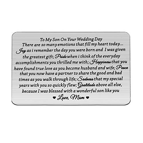 Lywjyb Birdgot Son Wedding Gift from Mom Son Gifts To My Son Gift Mom to Son Gifts Touching Mother to Son Poem Gift Son Wedding Gift from Parents Wallet Cards Gift (To Son Wedding Day card)