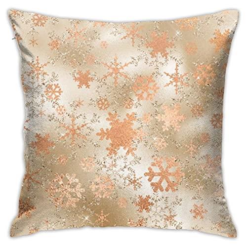 Elegante funda de cojín cuadrada con diseño de copos de nieve de color dorado para el hogar, sofá, dormitorio, sala de estar, jardín al aire libre, coche, decoración de 45 x 45 cm