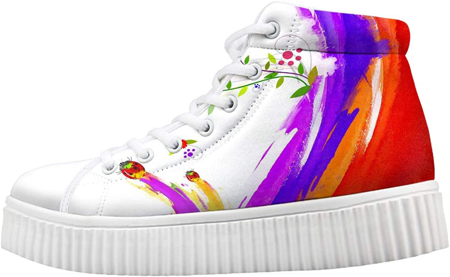 Owaheson Platform Lace up Sneaker Casual Chunky Walking shoes High Top Women Ladybugs Flowers Holi colors Carnival