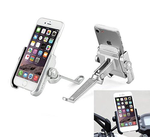 Soporte Smartphone Universal Moto Espejo Retrovisor Rotación de Aluminio para Motociclo Ciclomotor Scooter para Móvil Navegador GPS (Espejo DE Plata)