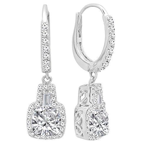 DazzlingRock Collection 14K de oro de 5 MM cada una de las piedras preciosas de los cojines y aretes cónicos y redondos de las mujer de diamantes Zafiro Blanco