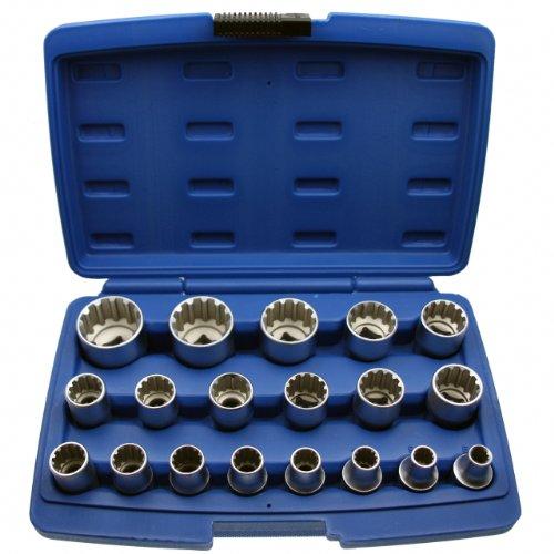 Alkan Multi Steckschlüsseleinsatz Steck-Nuss Schraubenschlüssel Kombination für ZOLL INCH SAE Vierkant Vielzahn und Torx Schrauben mit 1/2