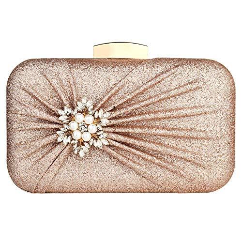 Damen Abendtasche Plissee Hochzeit Brautball Handtasche Gr. One size, Rose Gold Color