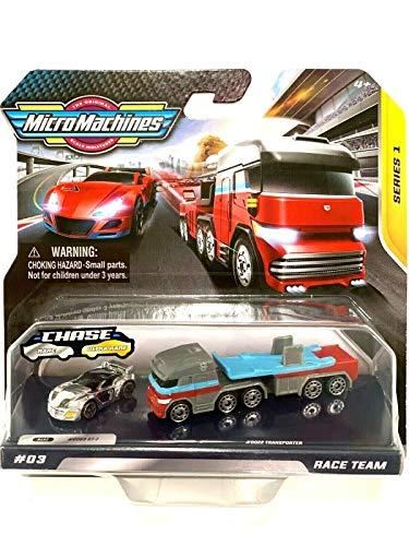 Micro Machines Fjäll miniatyrer serie 1 Race Team # 03, sällsynt silver jaga 069 GT-7 och transportör