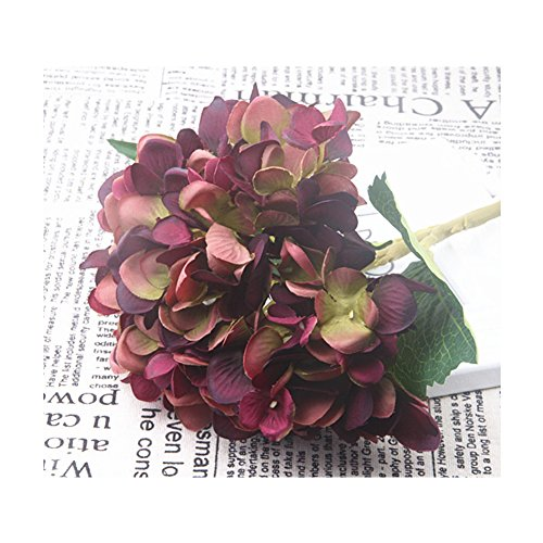 IHRKleid Kunstblumen Blumen Künstliche Hortensie Blumen Dekoration Künstliche Hydrangeablume Hochzeit Dekor Blumenstrauß (Dunkelrot2)