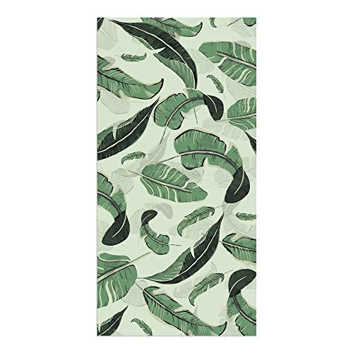 DON LETRA Alfombra Vinílica de 80 x 40 cm para Salón, Dormitorio y Cocina - Diseño de Hojas Verdes - Grosor de 0.2 cm, ALV-007