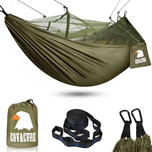 COVACURE Camping Hammock with Mosquito Net - Ultra Lightweight & Durable Outdoor Travel Hammock for Camping Hiking Backpacking