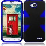 FastSun Dynamic Hybrid Cover Case For LG Optimus L70 D325 MS323 Realm LS620 ULTIMATE 2 L41C (Black-Blue)