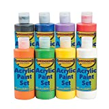 Acrylic Paint Set (8 Safe and Non Toxic Bottles of Bright Colors) Craft and Activities for Kids
