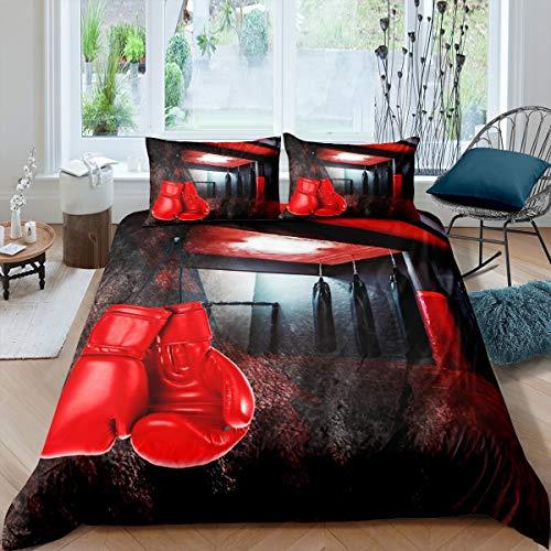 Homemissing Juego de ropa de cama de boxeo para niños, niñas, hombres, guantes de boxeo rojos, funda de edredón para juegos de pugilismo, colcha con 2 fundas de almohada, 3 unidades Super King