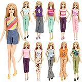 Miunana 5 Vetements Costumes Aléatoires (5 Tops + 5 Pantalons ) Colorés Pour Poupée Fille de 11,5 Pouces Cadeau de Noël
