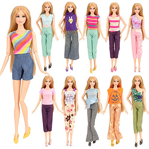 Barwa® 5 Sets Handmade Blouse with Trousers Pants for Barbie Doll Barbie Clothes Xmas Gift One Free Mini Dress