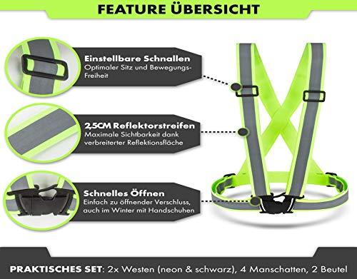 CBL LUXURY Reflektorweste [8er Set] Bestehend aus Fahrrad Warnweste, Armband und Netztasche Premium Reflective Vest in Zwei - 3