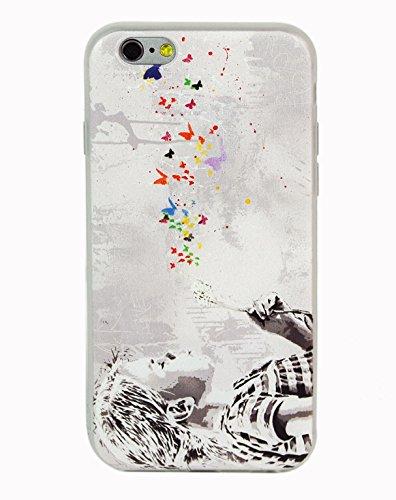 JR Design Cover iPhone 6, Cover Silicone Morbida Stampa Artisti con Effetti in Rilievo, Bambina & Fiore Apple iPhone 6 Cover TPU Satinata ABJR_024
