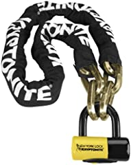 14mm, 6-sided chain links made of 3t manganese steel provide ultimate strength Durable, protective nylon cover with hook-n-loop fasteners to hold it in place New York Disc Lock features 15mm hardened MAX-Performance steel shackle and higher security ...