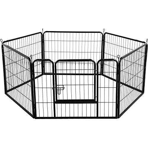 Yaheetech Recinto per Cani Cuccioli Conigli da Interno Esterno Giardino Rete Recinzione in Ferro 6 pz 80 x 60 cm Nero