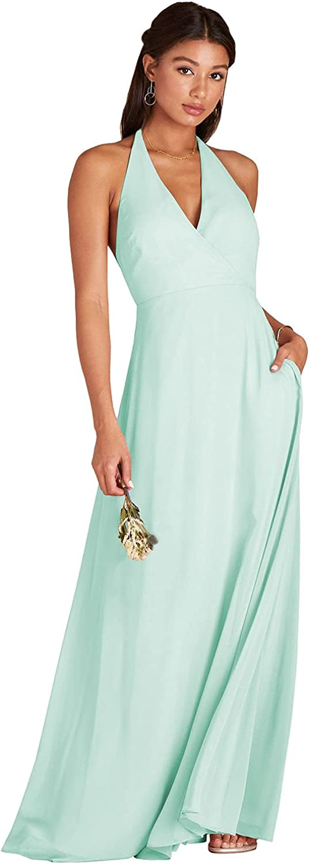 BONOYUER Women's Convertible Open Back Bridesmaid Dresses for Wedding V Neck Chiffon Formal Infinity Dress with Pockets