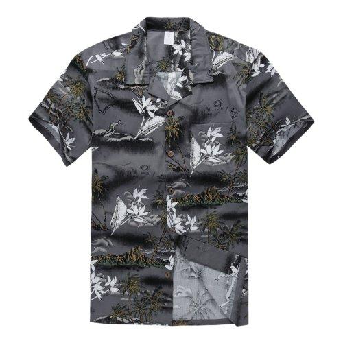Palm Wave Camisa Hawaiana de Luau del Hawaiian del Muchacho Solo en Mapa Gris y Surfista 16 Años