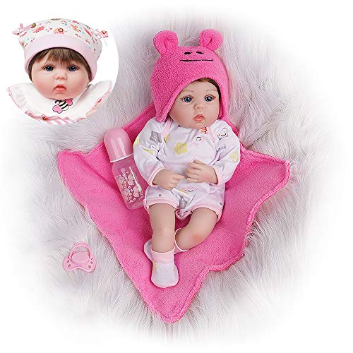 Yesteria Reborn Baby Doll, 16 Inch Realistic Silicone Baby Doll, Weighed Reborn Girl Doll 2 Sets Outfits, with Accessories and Certificate of Adoption