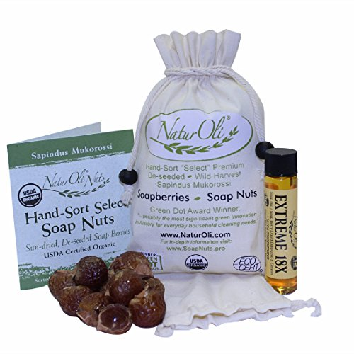 NaturOli Soap Nuts/Soap Berries - 4 oz (60 Loads) USDA Organic + 18X Bonus! (12 Loads) Select Seedless, Wash Bag, 8pg info, Tote Bag. Organic Laundry Soap/Natural Cleaner!