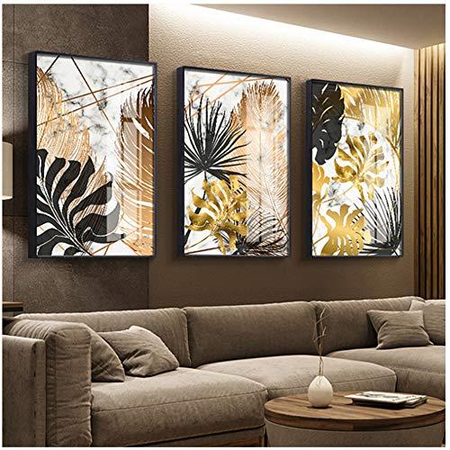 Arte de pared de lienzo Carteles de pintura de lienzo de hoja dorada e impresión moderna decoración cuadros de arte de pared para sala de estar dormitorio comedor-50x70 cm Sin marco 🔥