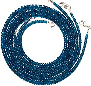 Super Rare Faceted Rondelle Beads Natural Neon Blue Apatite Gems 16 Inch Full Strand 3 to 6MM Size Super Fine Qulaity Beads Neon Blue Color