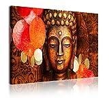 DekoArte 339 - Cuadros Modernos Impresión de Imagen Artística Digitalizada | Lienzo Decorativo para Tu Salón o Dormitorio | Estilo Cara Buda Zen Tonos Bronces Relajación | 1 Pieza 120 x 80 cm