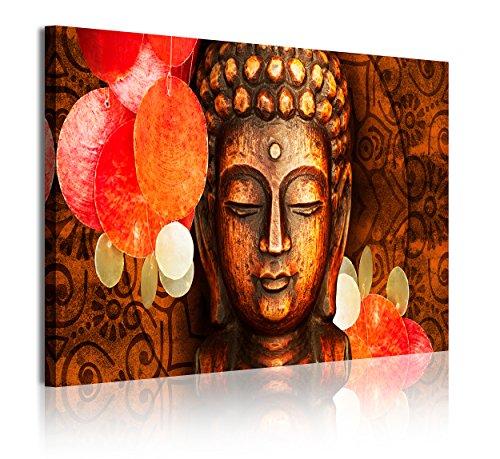 DekoArte 339 - Quadri moderni Stampa di Immagini Artistica Digitalizzata | Tela Decorativa Per Soggiorno o Stanza da letto | Stile Faccia Buda Zen in Tonalità Bronzo, Relax | 1 Pezzo 120 x 80 cm