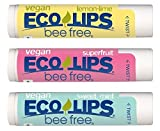 VEGAN LIP BALM By Eco Lips Superfruit / Sweet Mint / Lemon Lime 3 Pack Bee Free with Candelilla Wax, Organic Cocoa Butter, & Organic Coconut Oil. Soothe & Moisturize Dry, Cracked and Chapped Lips. 100% Plastic-Free Plant Pod Packaging. Made in the USA.