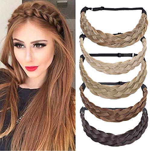 TESS Haarband geflochten Haargummi mit Haaren Damen Haarteile Dutt Braids Extensions verstellbare Kopfband Large Haarschmuck Braiding Hair für Frauen 3.8cm Breit 50g Braun Ombre