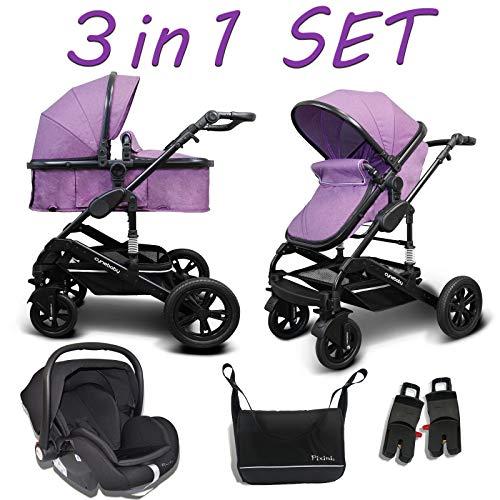 Cynebaby Kombi-Kinderwagen 3in1 (Kombi-Kinderwagen 3in1 mit Babyschale violett)