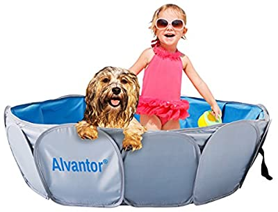 """Alvantor Pet Swimming Pool Dog Bathing Tub Kiddie Pools Cat Puppy Shower Spa Foldable Portable Indoor Outdoor Pond Ball Pit 42?x12"""" Patent Pending"""
