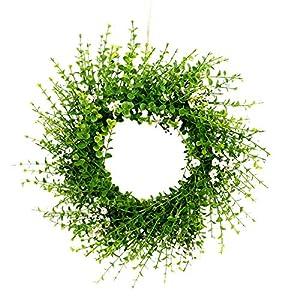 "oufenli Artificial Spring Wreath,15.7"" Simulation Eucalyptus Leaf Cosmos Flower Wreath Garland Decoration- Green Artificial Wreath for Front Door Wall Window Home Festival Decor Ornament (Eucalyptus)"