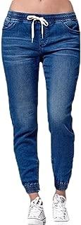 Women's Elastic Waist Casual Distressed Cuffed Jeans Denim Jeans Pants