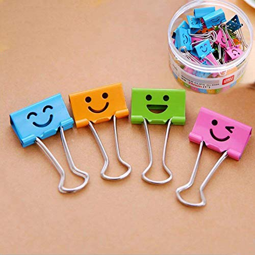 Coideal Medium Metal Paper Clips Assorted 48 Pack Colored Binder Clips with Cute Lovely Hollow Smiling FaceMulti Color Photo File Paper Document Clip Clamp Organizer for Office Home 25mm
