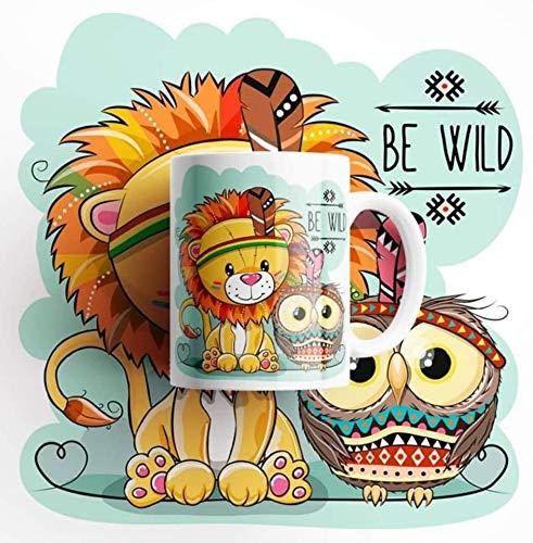 Desconocido Taza de cerámica león y búho bebé Indio