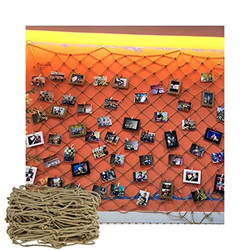 OSHA HJWMM Decorative Fishing Net, Children Safety Net Bird Netting for The Garden Poultry Breeding Netting with Wooden Photo Clips, Wall Decoration (Color : A, Size : 1.5X1.2M(0.39'X0.47'))