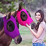 2 Pieces Horse Fly Mask Horse Mask with Ears Smooth and Elasticity Fly Mask with UV Protection (Purple, Pink,M)