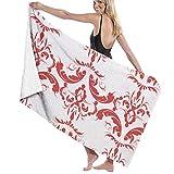 Yaxinduobao Microfiber Soft Large Toallas de baño para Ducha Toallas de Playa Bath Washcloths Toallas de baño Modern Decorative Moroccan Pattern Red