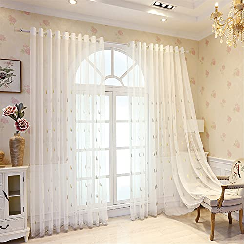 FACWAWF Nordic Style Minimalist Translucent Curtain Gray Tree Embroidery Soft Breathable Children'S Room Curtains Living Room Bedroom Balcony 2x157x106in(400x270cm) WxH