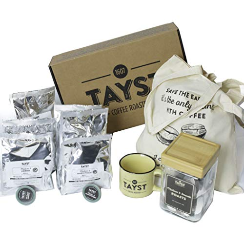 Tayst Bold Coffee Gift Box Set | 60 Single Serve Pods of Bold coffees, a canvas tote bag, coffee jar and a Tayst mug | $75 coffee gift box for Holiday, Snack, Business and Family