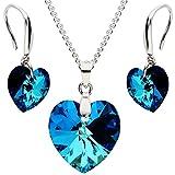 MYA art Damen Schmuckset 925 Silber mit Herz Anhänger Swarovski Elements Kristall Blau Kette Halskette Ohrringe Hängend Set MYASIKET-47 - Valentinstag Geschenke