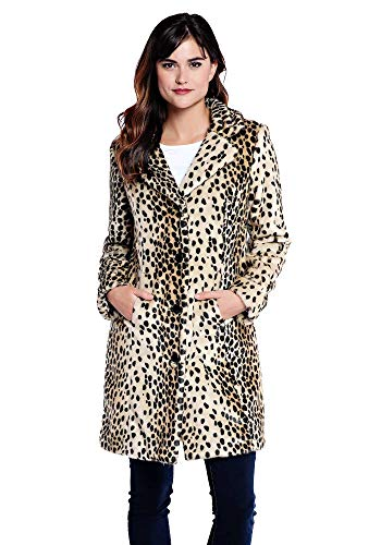 Donna Salyers' Fabulous-Furs Tailored Knee Length Faux Fur Coat (Leopard, Medium)