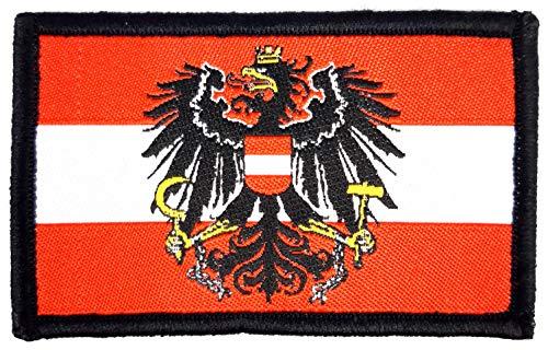 1 x Flagge der Republik Österreich mit Wappen Adler Österreichische Fahne Flagge Austria Wappen Aufnäher Patch für Shirt Deutschland mit Klett